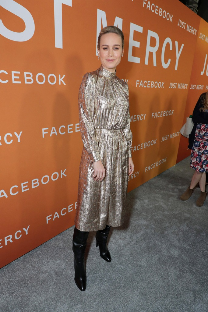 Brie Larson, celine, gold dress, black boots, celebrity style, red carpet, Warner Bros. Pictures presents JUST MERCY Los Angeles Community Screening, Los Angeles, USA - 06 Jan 2020Wearing Celine same outfit as catwalk model *10425349bc