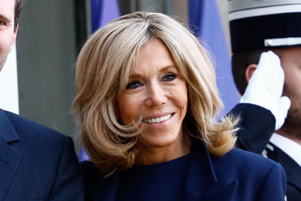 Brigitte Macron Layers Blue Dress With Pumps To Meet First Gentleman Footwear News
