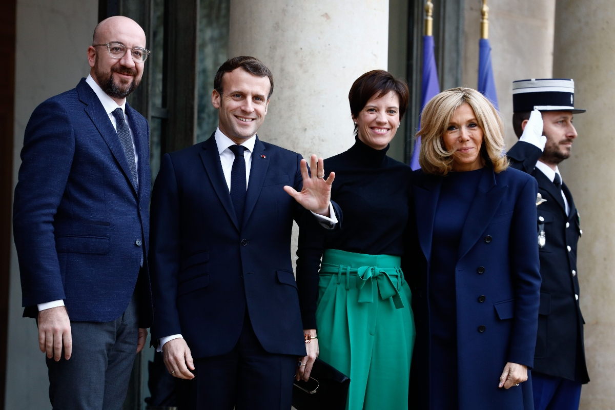 Brigitte Macron Layers Blue Dress With Pumps To Meet First Gentleman Footwear News