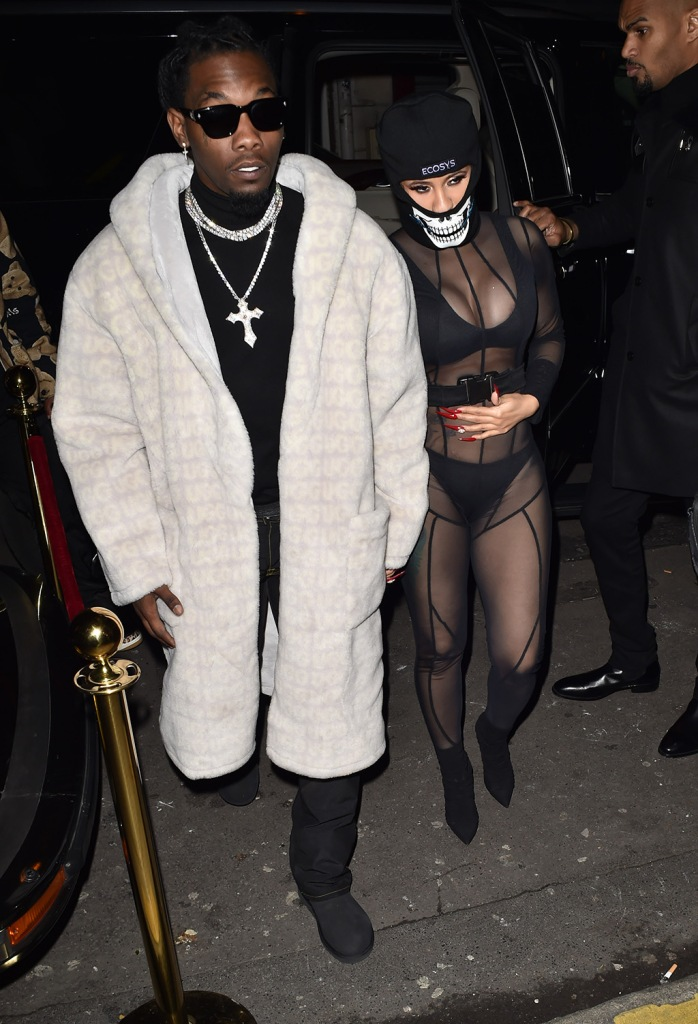offset, ugg robe, chains, black boots, cardi b, sheer catsuit, face mask, black booties, Cardi B is seen with boyfriend Offset at Cesar restaurant in Paris, the couple were then seen going to a clubPictured: Cardi B,OffsetRef: SPL5140761 160120 NON-EXCLUSIVEPicture by: New Media Images / SplashNews.comSplash News and PicturesLos Angeles: 310-821-2666New York: 212-619-2666London: +44 (0)20 7644 7656Berlin: +49 175 3764 166photodesk@splashnews.comWorld Rights