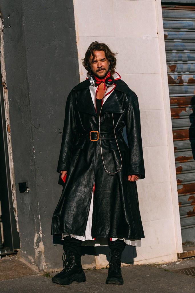 Casey Spooner , prada, combat boots, leather coat, street style, milan fashion week mens