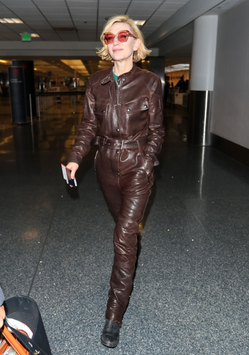 cate blanchett, lax, los angeles, airport, belstaf brown jumpsuit, boots, karen walker sunglasses, leather