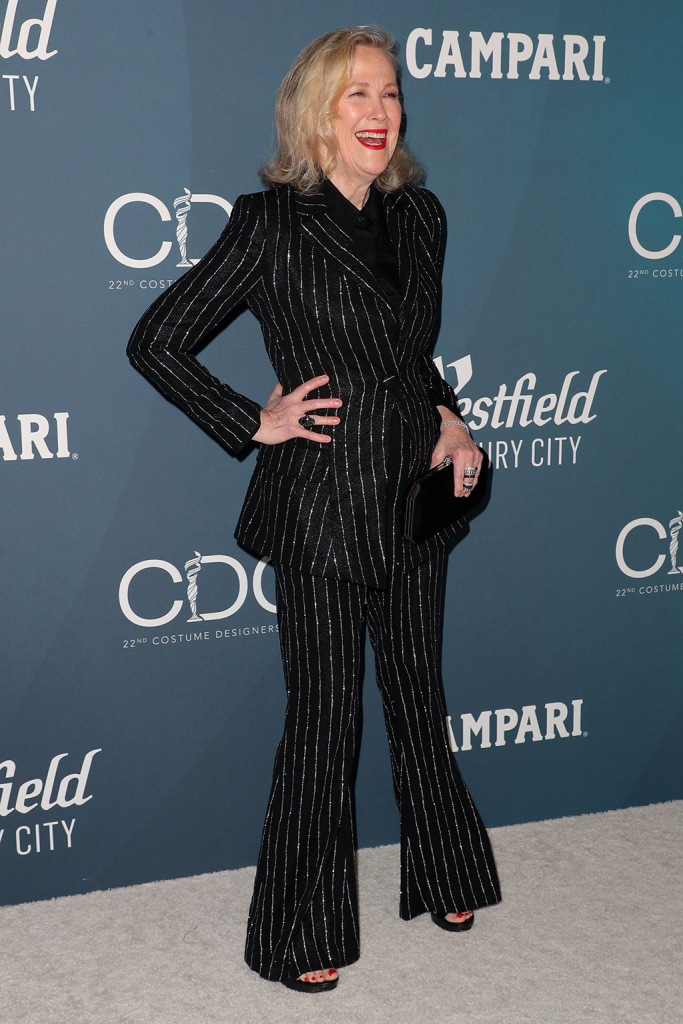 Catherine O'Hara, christian siriano pantsuit, celebrity style, 22nd Costume Designers Guild Awards, Arrivals, The Beverly Hilton, Los Angeles, USA - 28 Jan 2020Wearing Christian Siriano same outfit as catwalk model *10100211u and Liv Hewson