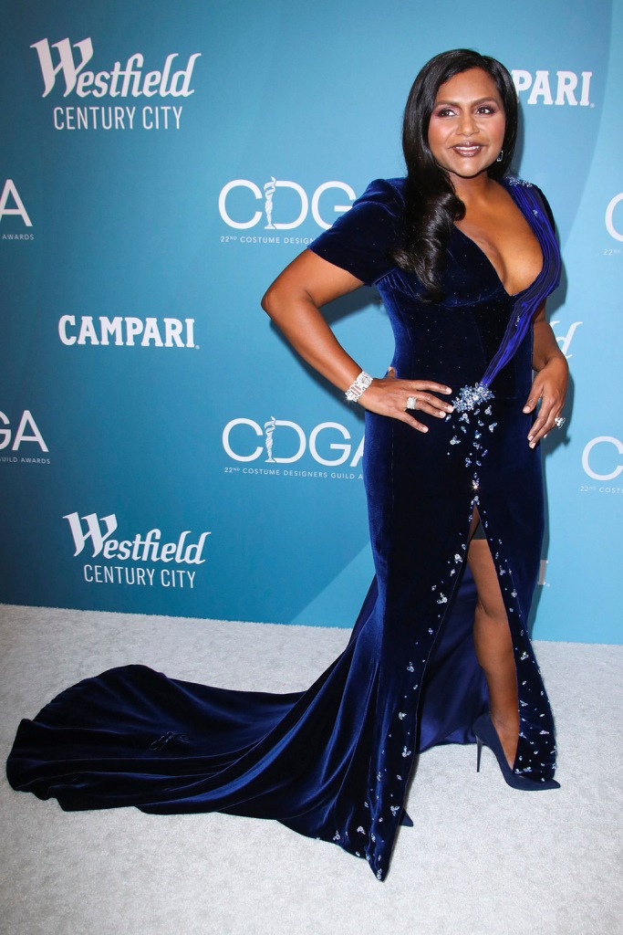 Mindy Kaling, blue gown, sandals, 22nd Costume Designers Guild Awards, Arrivals, The Beverly Hilton, Los Angeles, USA - 28 Jan 2020Wearing Salvador Perez, Custom