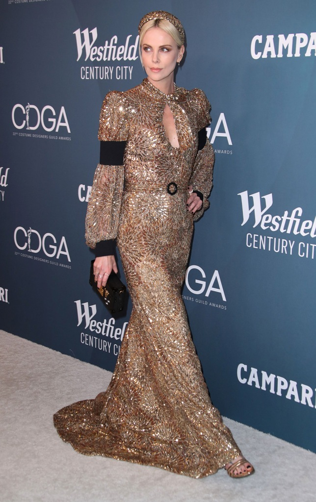 Charlize Theron, louis vuitton, red carpet, gold dress, custom gown, celebrity style, sandals, pedicure, 22nd Costume Designers Guild Awards, Arrivals, The Beverly Hilton, Los Angeles, USA - 28 Jan 2020Wearing Louis Vuitton, Custom