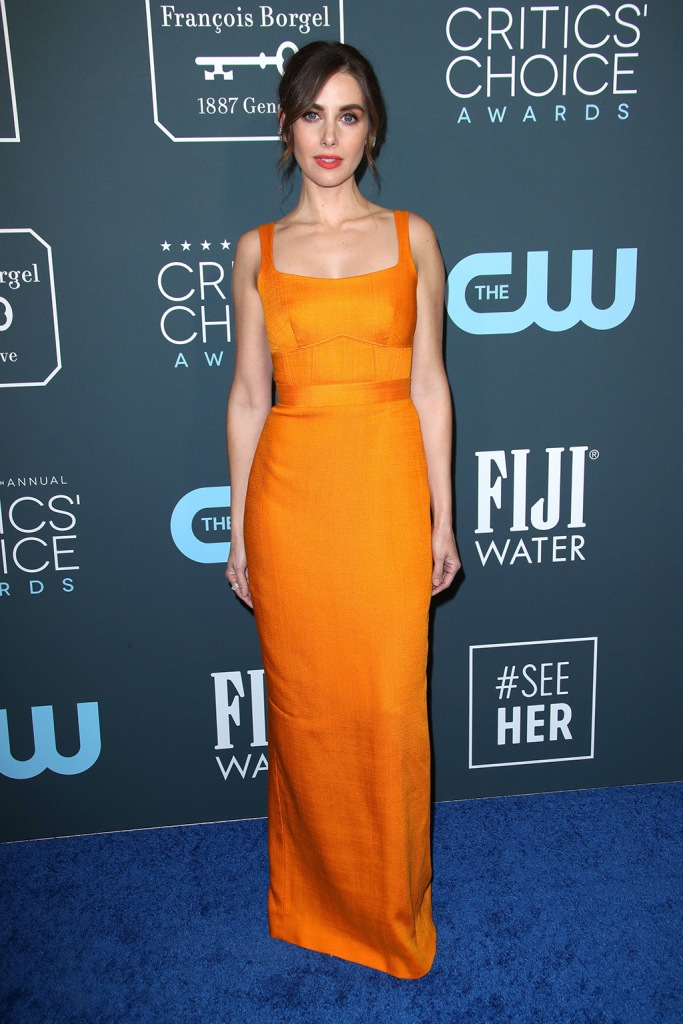 Alison Brie, gianvito rossi, brandon maxwell, orange dress, 25th Annual Critics' Choice Awards, Arrivals, Barker Hanger, Los Angeles, USA - 12 Jan 2020