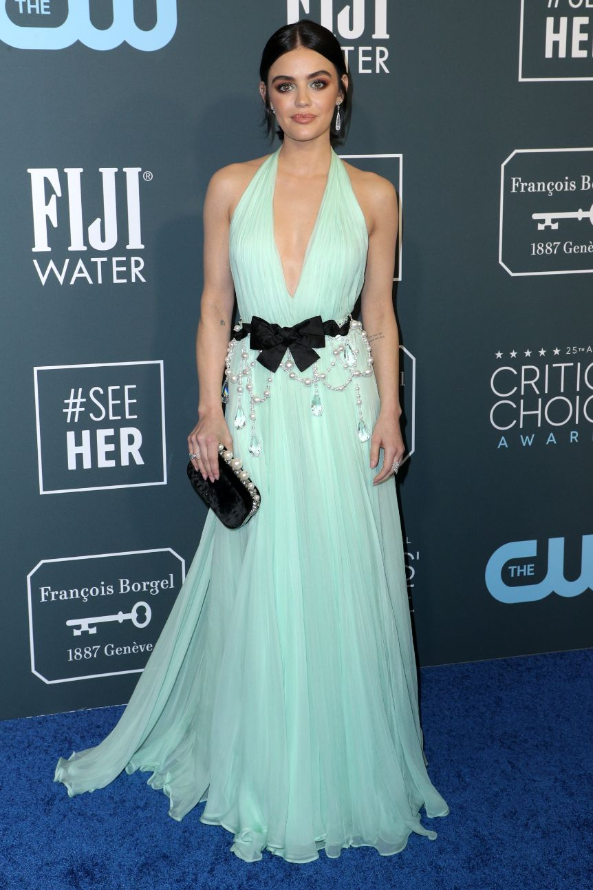 lucy hale, critics choice awards, 2020, blue dress, heels
