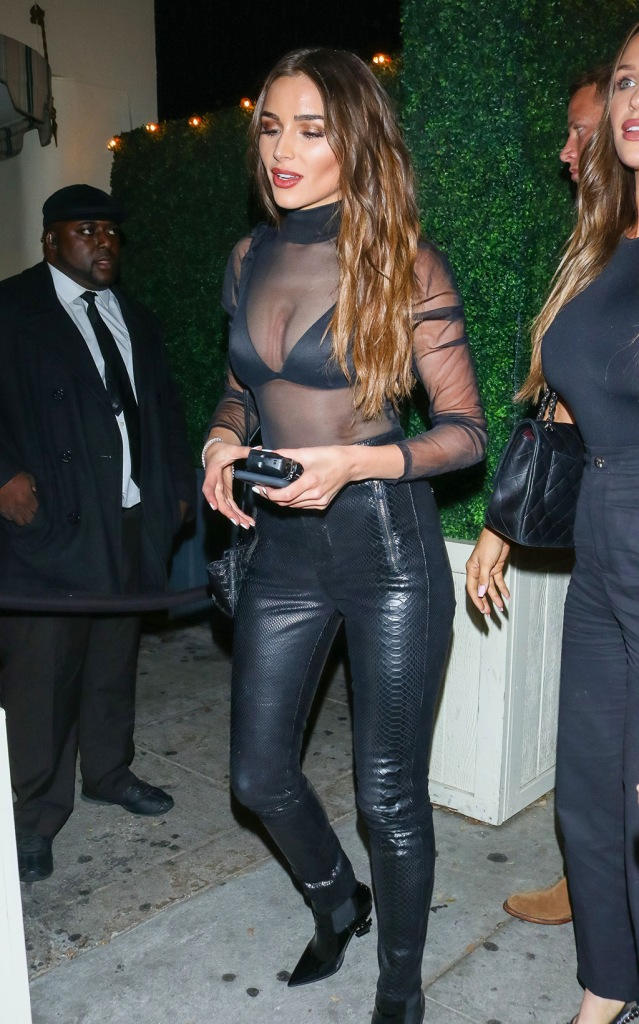 Olivia Culpo , saint laurent boots, ysl shoes, j brand pants, leather pants, skintight pants, sheer blouse, bra, see through shirt, is seen outside Delilah nightclub in West HollywoodOlivia Culpo out and about, Los Angeles, USA - 12 Jan 2020Olivia Culpo is seen outside Delilah nightclub in West HollywoodOlivia Culpo out and about, Los Angeles, USA - 12 Jan 2020