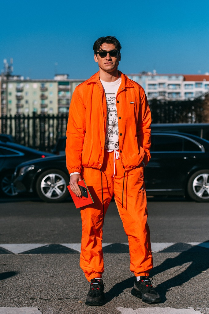 Dennis Van Peel, msgm, red tracksuit, sneakers, milan fashion week, mens, street style, mfw