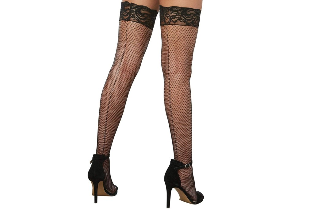 dreamgirl fishnet stockings with lace top