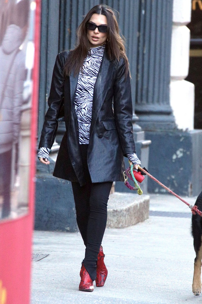 Emily Ratajkowski, red boots, snakeskin shoes, celine, square toe trend, zebra print shirt, leggings, leather jacket, sunglasses, Emily Ratajkowski out and about, New York, USA - 29 Jan 2020