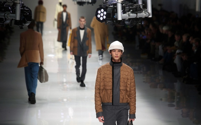 milan fashion week, fall 2020, runway, fendi, mfw, men's , A model presents a creation by Fendi during the Milan Fashion Week Men's, in Milan, Italy, 13 January 2020. The Fall-Winter 2020-21 men's collections are presented at the Milano Moda Uomo from 10 to 14 January.Fendi - Runway - Milan Fashion Week Men's F/W 2020/21, Italy - 13 Jan 2020