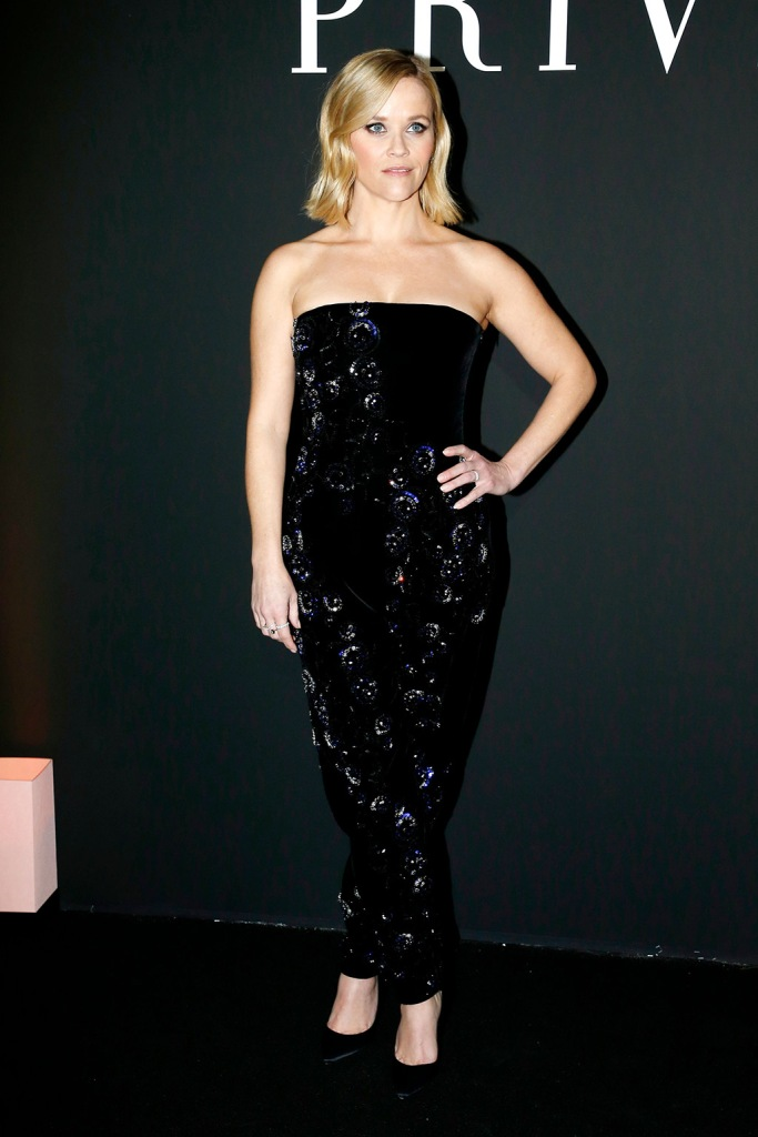 Reese Witherspoon, sparkly jumpsuit, pumps, in the front rowGiorgio Armani Prive show, Front Row, Spring Summer 2020, Haute Couture Fashion Week, Paris, France - 21 Jan 2020Wearing Armani