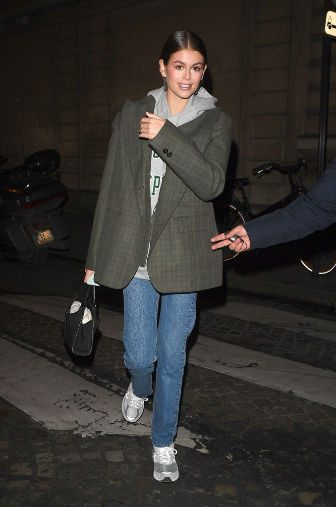 Kaia Gerber, sacai blazer, jeans, brandy meville sweatshirt, hoodie, new balance 990v5, sneakers, dad shoes, at Valentino showKaia Gerber out and about, Haute Couture Fashion Week, Paris, France - 22 Jan 2020Kaia Gerber at Valentino showKaia Gerber out and about, Haute Couture Fashion Week, Paris, France - 22 Jan 2020