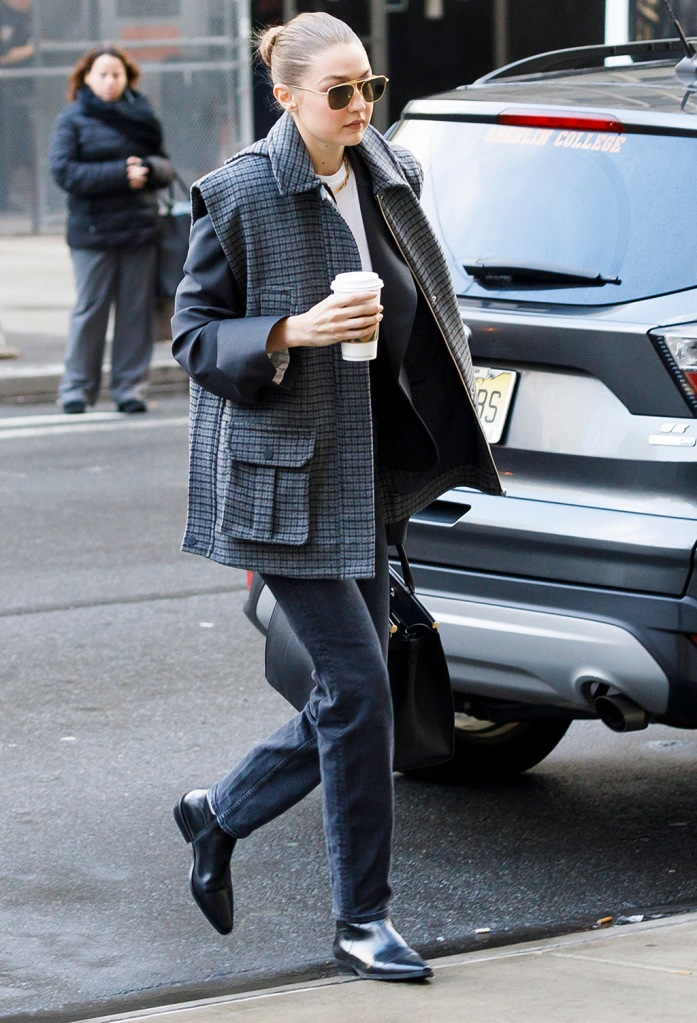 gigi hadid, street style, black jeans, ganni vest, 3x1 x mimi jeans, black boots, sunglasses, US model Gigi Hadid arrives to New York State Supreme Court to be vetted for the jury for the trial of former Hollywood producer Harvey Weinstein in his sexual assault trial in New York, New York, USA, 16 January 2020. Hadid was was not put on the jury for the trial, which is expected to last for about eight weeks and is based on sexual assault and rape allegations of two separate women.Harvey Weinstein Trial in New York, USA - 16 Jan 2020