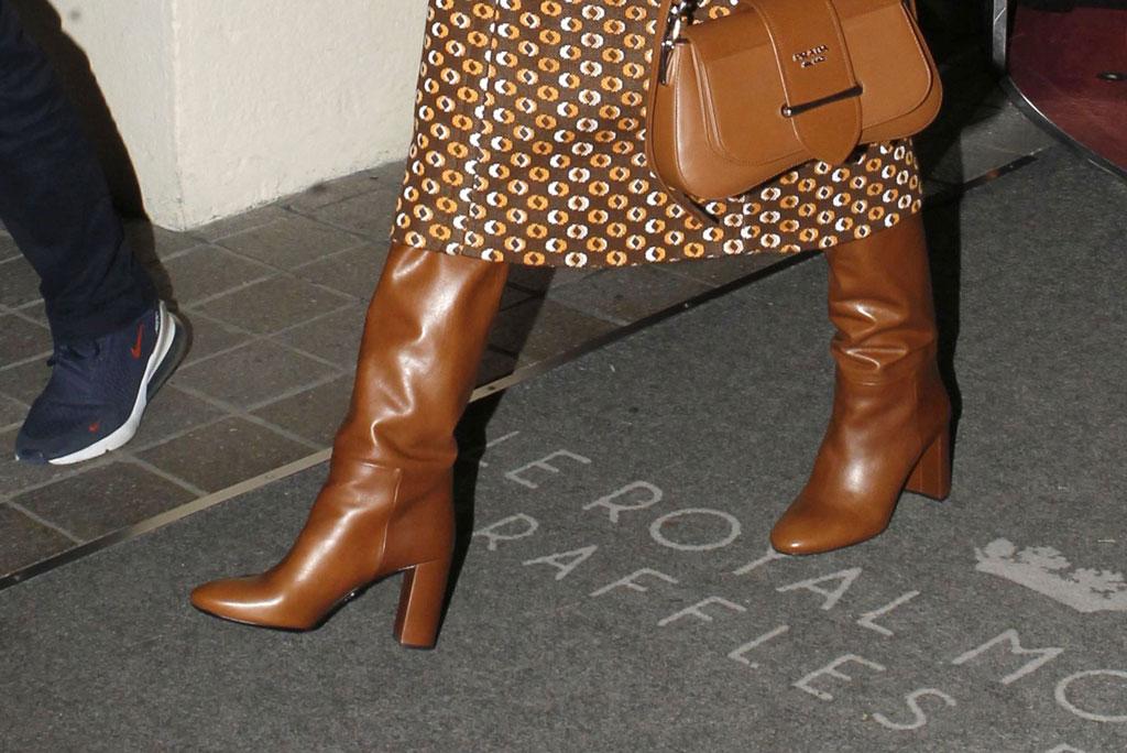 Gigi Hadid, prada, celebrity style, prada, skirt suit, tall boots, tan boots, tan bag, turtleneck, Gigi Hadid out and about, Paris Fashion Week Men's, France - 19 Jan 2020Gigi HadidGigi Hadid out and about, Paris Fashion Week Men's, France - 19 Jan 2020