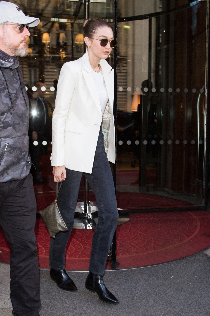 gigi hadid, paris, white blazer, leather boots, square-toe boots