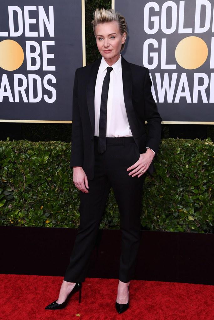 Portia de Rossi, pantsuit, tie, stilettos, pumps, 77th Annual Golden Globe Awards, Arrivals, Los Angeles, USA - 05 Jan 2020