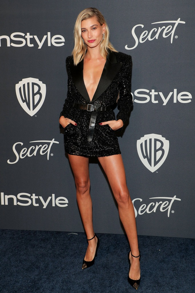 Hailey Bieber, hailey baldwin, minidress, black dress, pumps, red carpet, ysl, saint laurent, InStyle and Warner Bros Golden Globes After Party, Arrivals, Los Angeles, USA - 05 Jan 2020Wearing Saint Laurent same outfit as catwalk model *10421944beHailey BieberInStyle and Warner Bros Golden Globes After Party, Arrivals, Los Angeles, USA - 05 Jan 2020Wearing Saint Laurent same outfit as catwalk model *10421944be