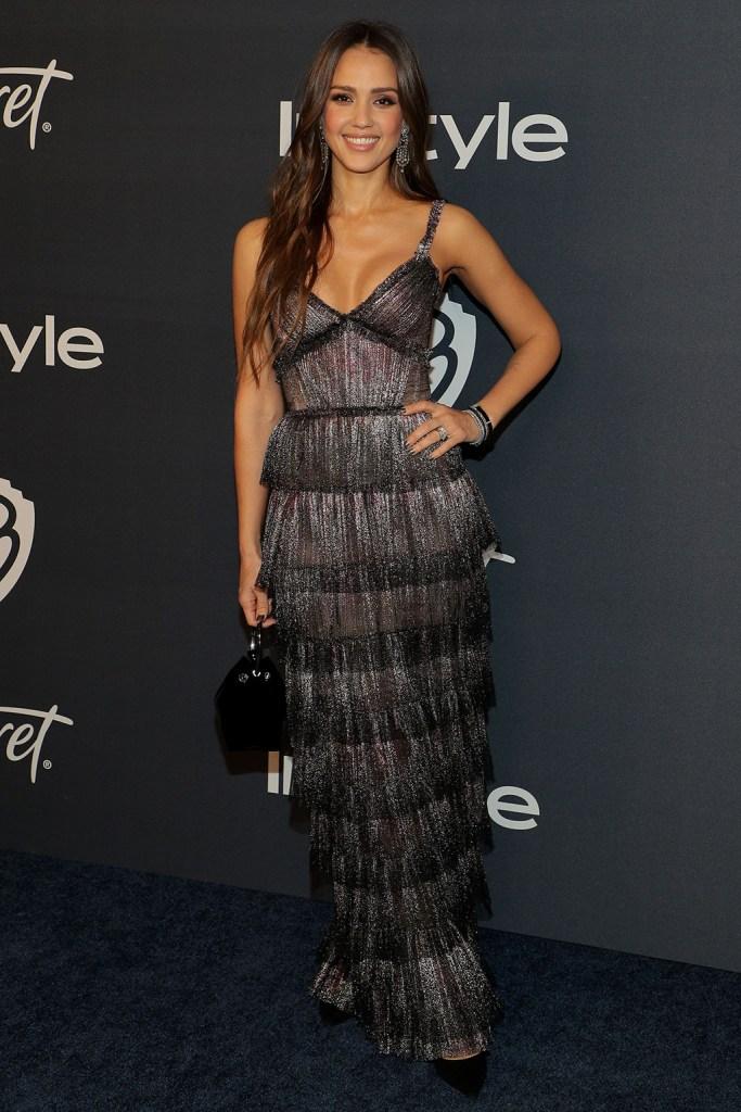 Jessica Alba, j mendel dress, jimmy choo romy, InStyle and Warner Bros Golden Globes After Party, Arrivals, Los Angeles, USA - 05 Jan 2020Wearing J Mendel