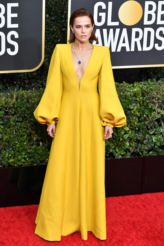 Zoey Deutch, fendi, red carpet, yellow dress, celebrity style, 77th Annual Golden Globe Awards, Arrivals, Los Angeles, USA - 05 Jan 2020