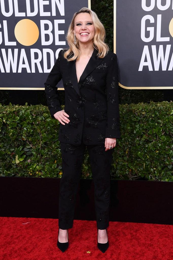Kate McKinnon, jimmy choo, pantsuit, red carpet, 77th Annual Golden Globe Awards, Arrivals, Los Angeles, USA - 05 Jan 2020