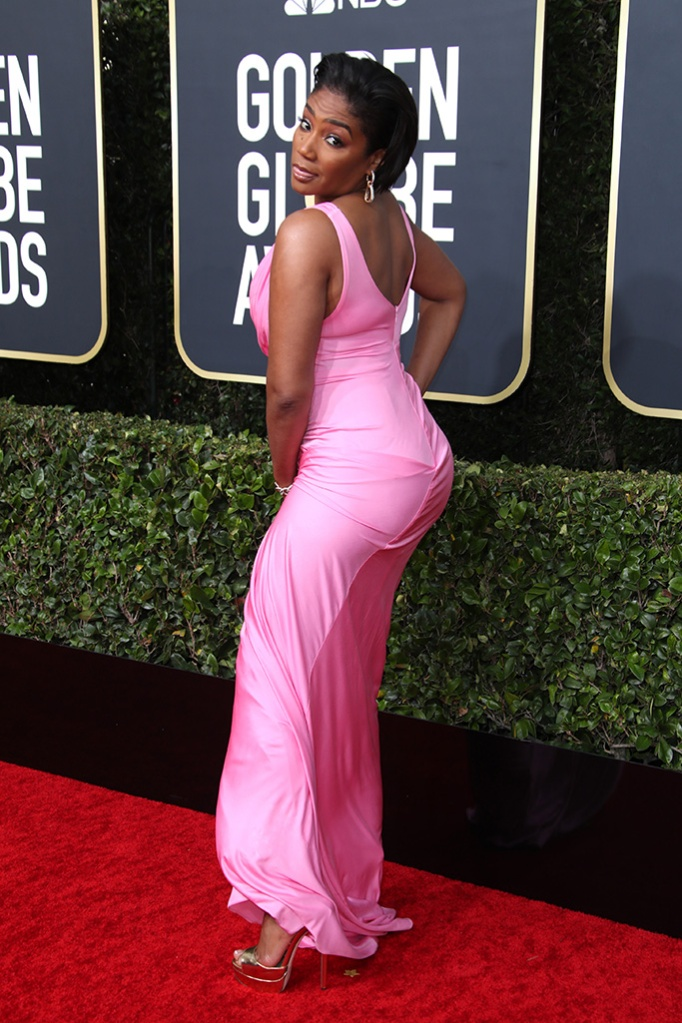 Tiffany Haddish, pink gown, jimmy choo shoes, silver sandals, platform heels, Galia Lahav, 77th Annual Golden Globe Awards, Arrivals, Los Angeles, USA - 05 Jan 2020