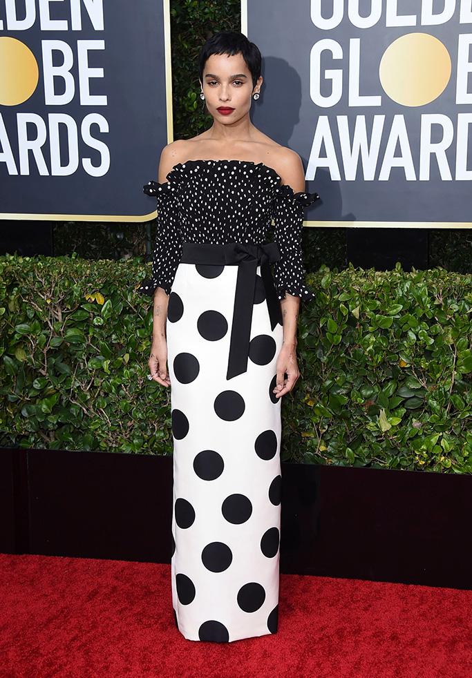 Zoe Kravitz , saitn laurent, ysl, polka dot gown, arrives at the 77th annual Golden Globe Awards at the Beverly Hilton Hotel, in Beverly Hills, Calif77th Annual Golden Globe Awards - Arrivals, Beverly Hills, USA - 05 Jan 2020