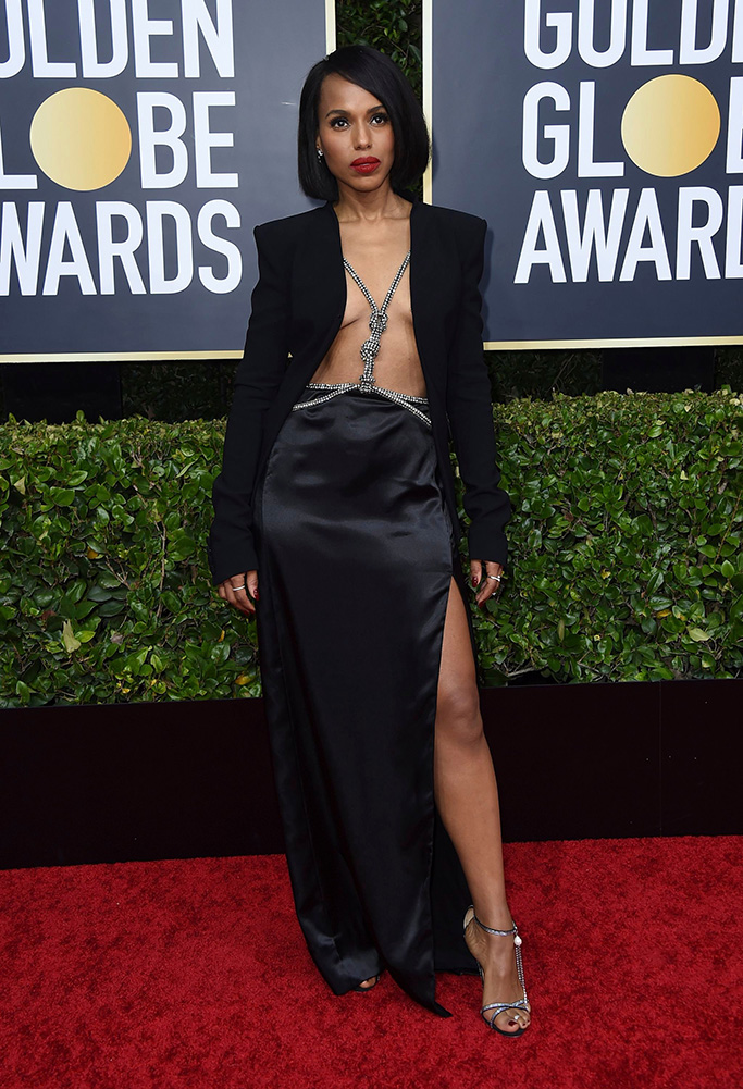 Kerry Washington , Magda Butrym, sandals, altuzarra, legs, chest, celebrity style, cleavage, risque gown, arrives at the 77th annual Golden Globe Awards at the Beverly Hilton Hotel, in Beverly Hills, Calif77th Annual Golden Globe Awards - Arrivals, Beverly Hills, USA - 05 Jan 2020