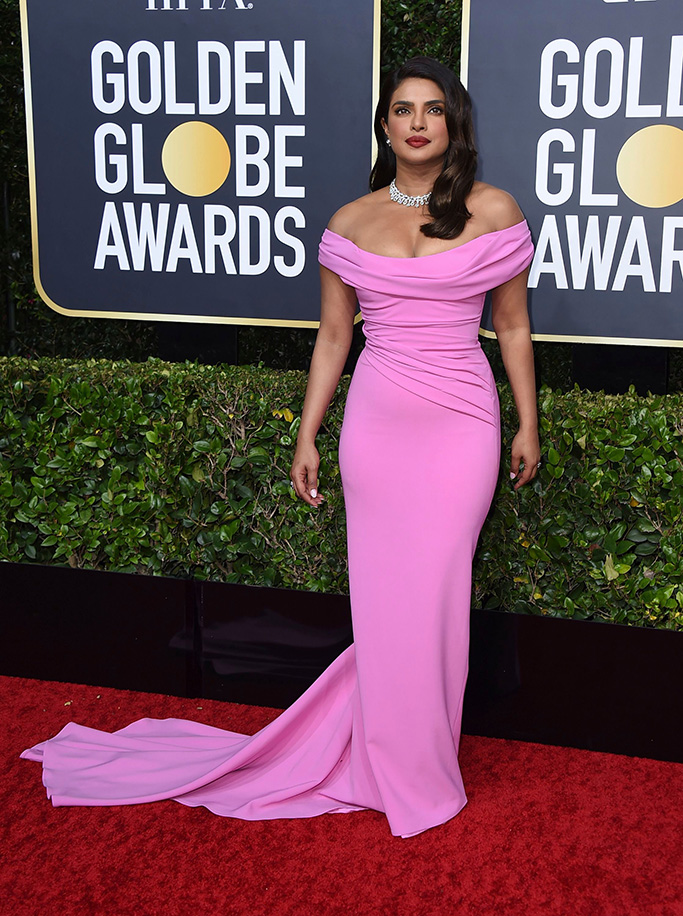 Priyanka Chopra, Cristina Ottaviano, pink gown, red carpet, arrives at the 77th annual Golden Globe Awards at the Beverly Hilton Hotel, in Beverly Hills, Calif77th Annual Golden Globe Awards - Arrivals, Beverly Hills, USA - 05 Jan 2020