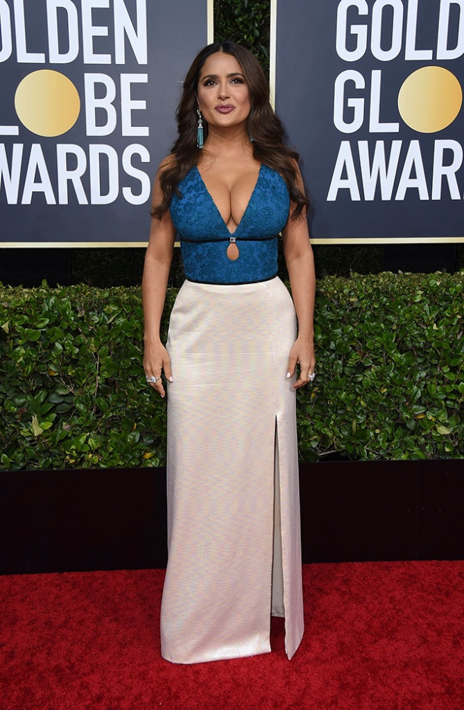 Salma Hayek arrives at the 77th annual Golden Globe Awards at the Beverly Hilton Hotel, in Beverly Hills, Calif77th Annual Golden Globe Awards - Arrivals, Beverly Hills, USA - 05 Jan 2020