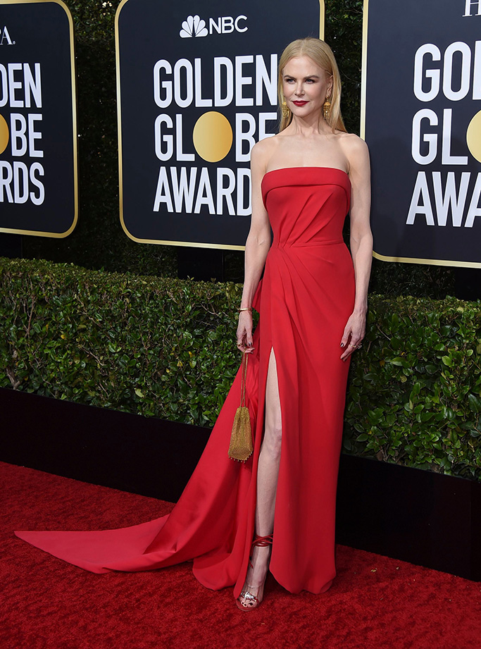 Nicole Kidman, red dress, legs, armani gown, sandals, arrives at the 77th annual Golden Globe Awards at the Beverly Hilton Hotel, in Beverly Hills, Calif77th Annual Golden Globe Awards - Arrivals, Beverly Hills, USA - 05 Jan 2020