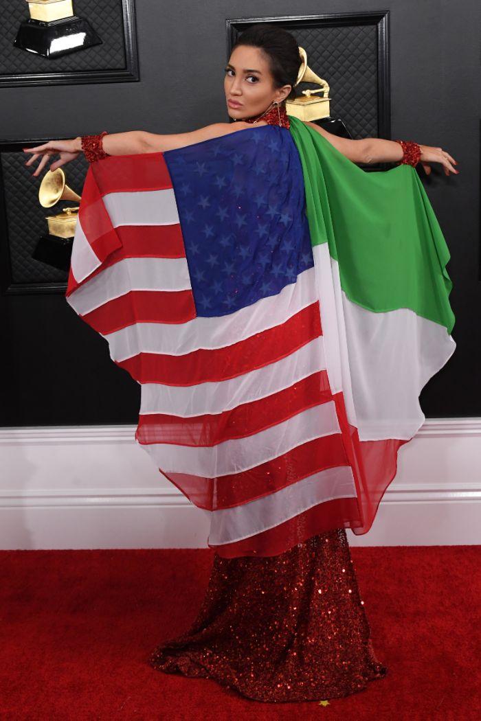megan pormer, grammy awards, iran, no war in iran, dress, flags