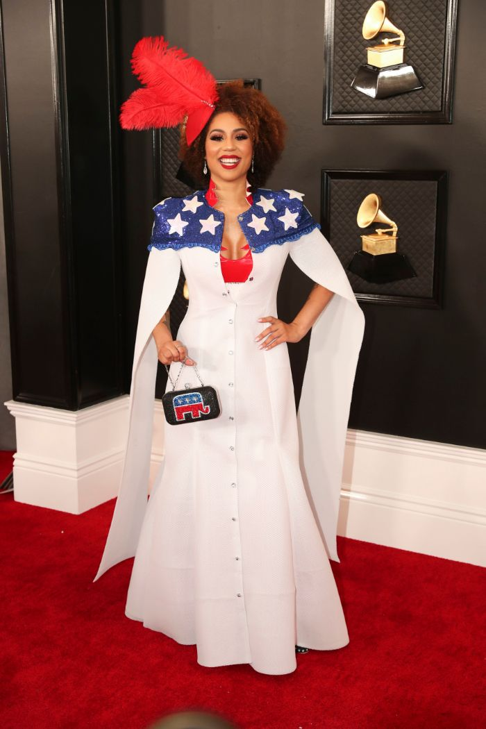joy villa, trump, grammy awards, 2020, dress, red carpet