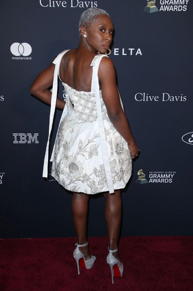 Cynthia Erivo, louboutin platforms, richard quinn, celebrity style, red carpet, Clive Davis' 2020 Pre-Grammy Gala, Arrivals, The Beverly Hilton, Los Angeles, USA - 25 Jan 2020