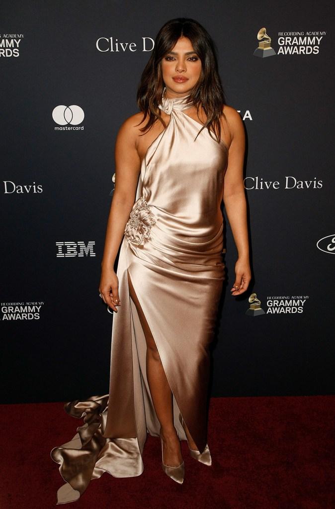 Priyanka Chopra, nicolas jebran, silk gown, legs, Stuart weitzman shoes, Clive Davis' 2020 Pre-Grammy Gala, Arrivals, The Beverly Hilton, Los Angeles, USA - 25 Jan 2020