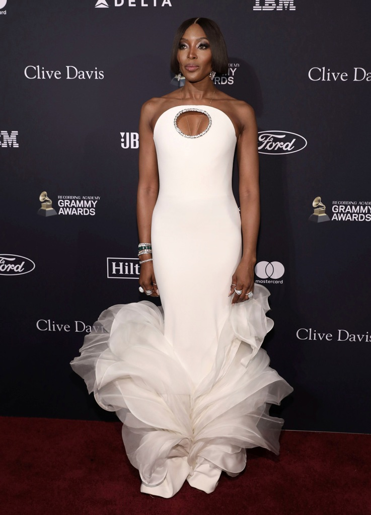 Naomi Campbell , couture dress, white gown, cleavage, red carpet, celebrity style, Stephane Rollandarrives at the Pre-Grammy Gala And Salute To Industry Icons at the Beverly Hilton Hotel, in Beverly Hills, Calif2020 Pre-Grammy Gala And Salute To Industry - Arrivals, Beverly Hills, USA - 25 Jan 2020