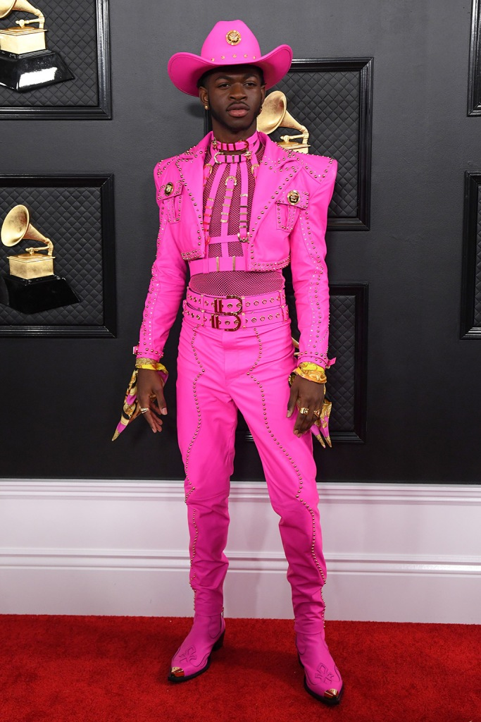 Lil Nas X, hot pink suit, versace outfit, 2nd Annual Grammy Awards, Arrivals, Los Angeles, USA - 26 Jan 2020Wearing Versace, Custom