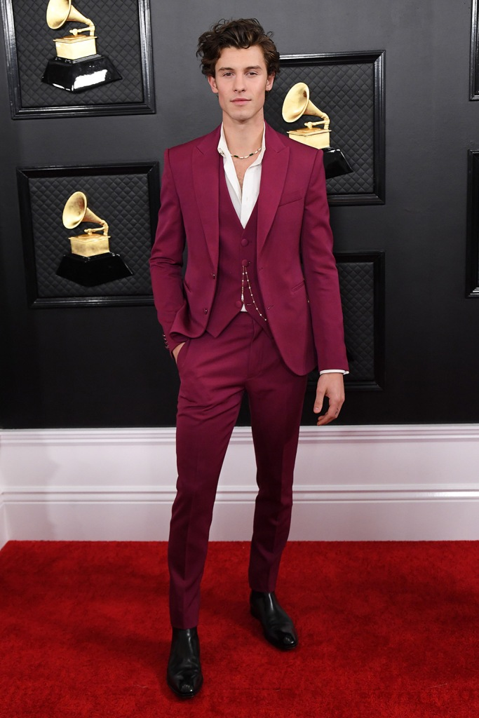 Shawn Mendes, louis vuitton suit, pink suit, 62nd Annual Grammy Awards, Arrivals, Fashion Highlights, Los Angeles, USA - 26 Jan 2020Wearing Louis Vuitton