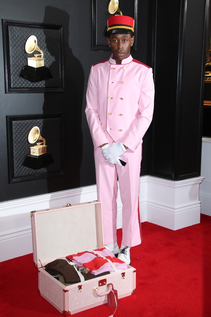 Tyler the Creator, bellhop outfit, suitcase, gloves, hat, 62nd Annual Grammy Awards, Arrivals, Los Angeles, USA - 26 Jan 2020