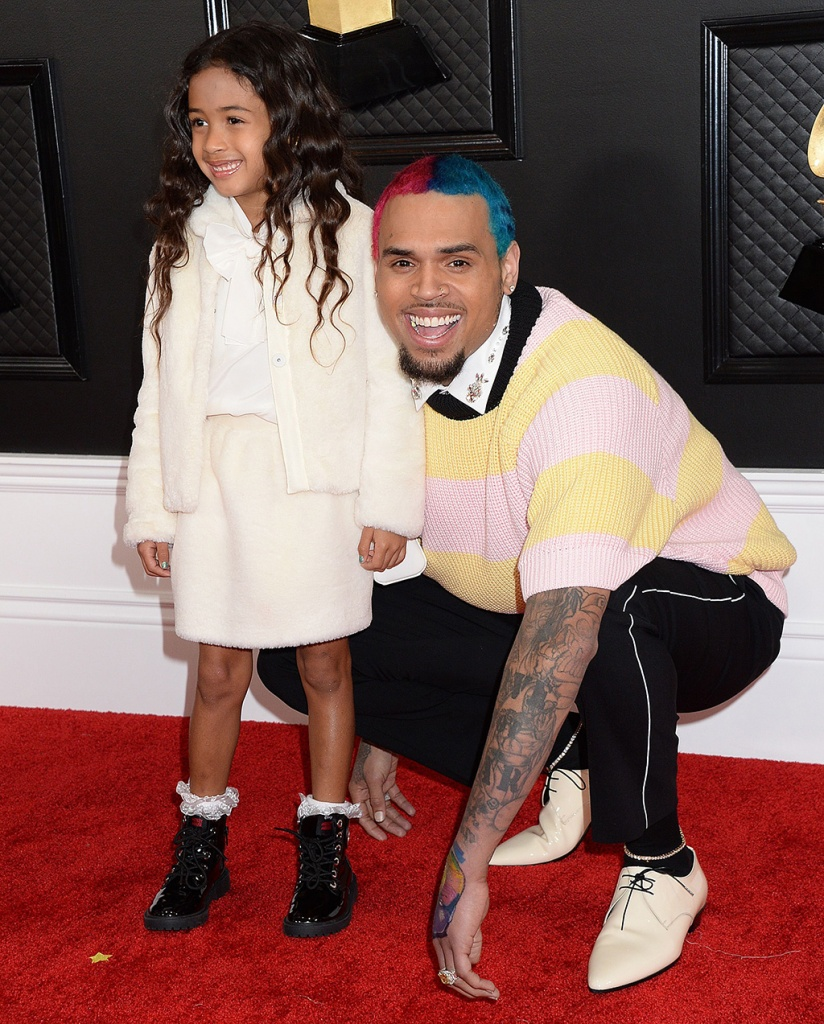 Royalty Brown, chris brown, striped sweater, black pants, laceup shoes, and Chris Brown62nd Annual Grammy Awards, Arrivals, Los Angeles, USA - 26 Jan 2020
