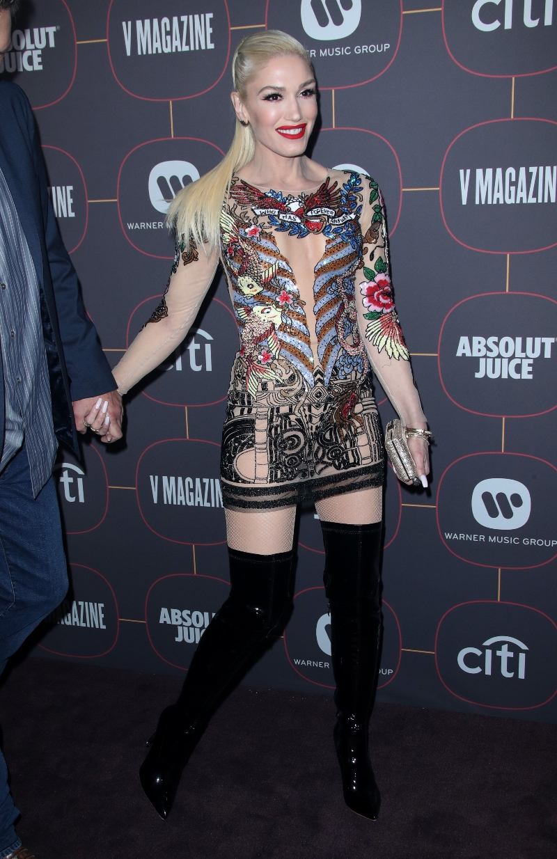 Gwen Stefani Pairs a Tattoo-Inspired Dress with Latex ...