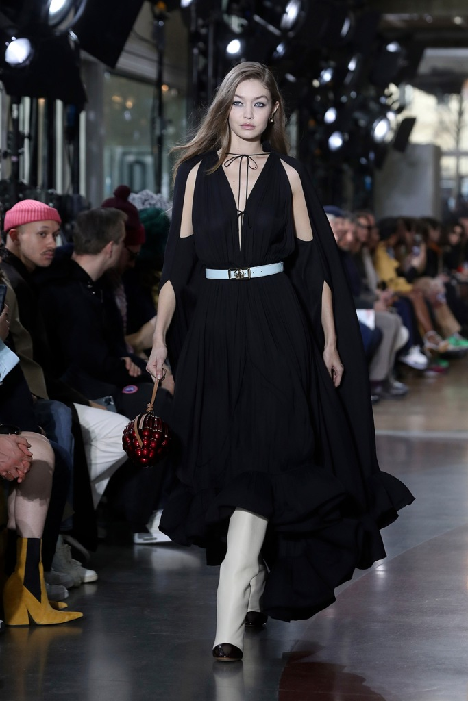 Model Gigi Hadid presents a creation during Lanvin Mens Fall/Winter 2020-2021 fashion collection presented in ParisFashion Mens F/W 20/21 Lanvin, Paris, France - 19 Jan 2020