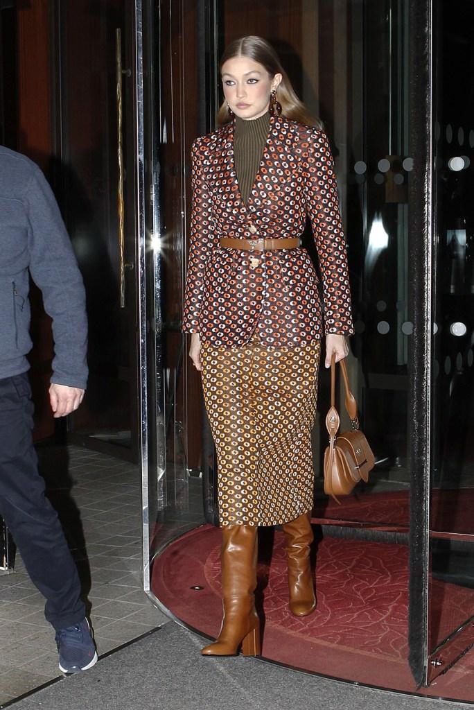 Gigi Hadid, celebrity style, prada, skirt suit, tall boots, tan boots, tan bag, turtleneck, Gigi Hadid out and about, Paris Fashion Week Men's, France - 19 Jan 2020