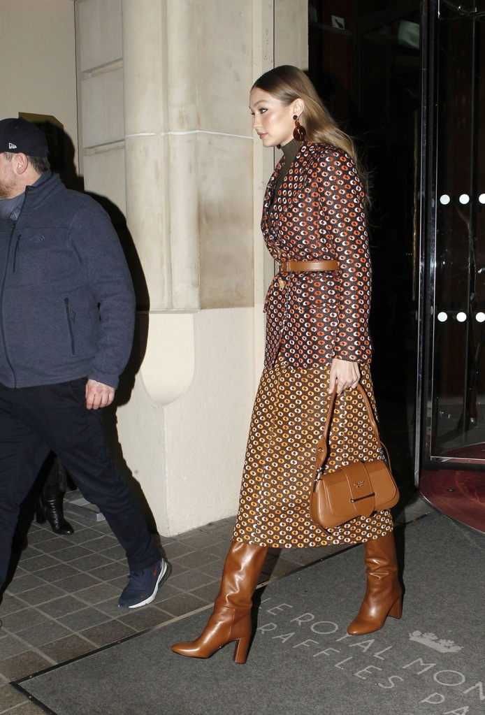 Gigi Hadid, celebrity style, prada, skirt suit, tall boots, tan boots, tan bag, turtleneck, Gigi Hadid out and about, Paris Fashion Week Men's, France - 19 Jan 2020Gigi HadidGigi Hadid out and about, Paris Fashion Week Men's, France - 19 Jan 2020