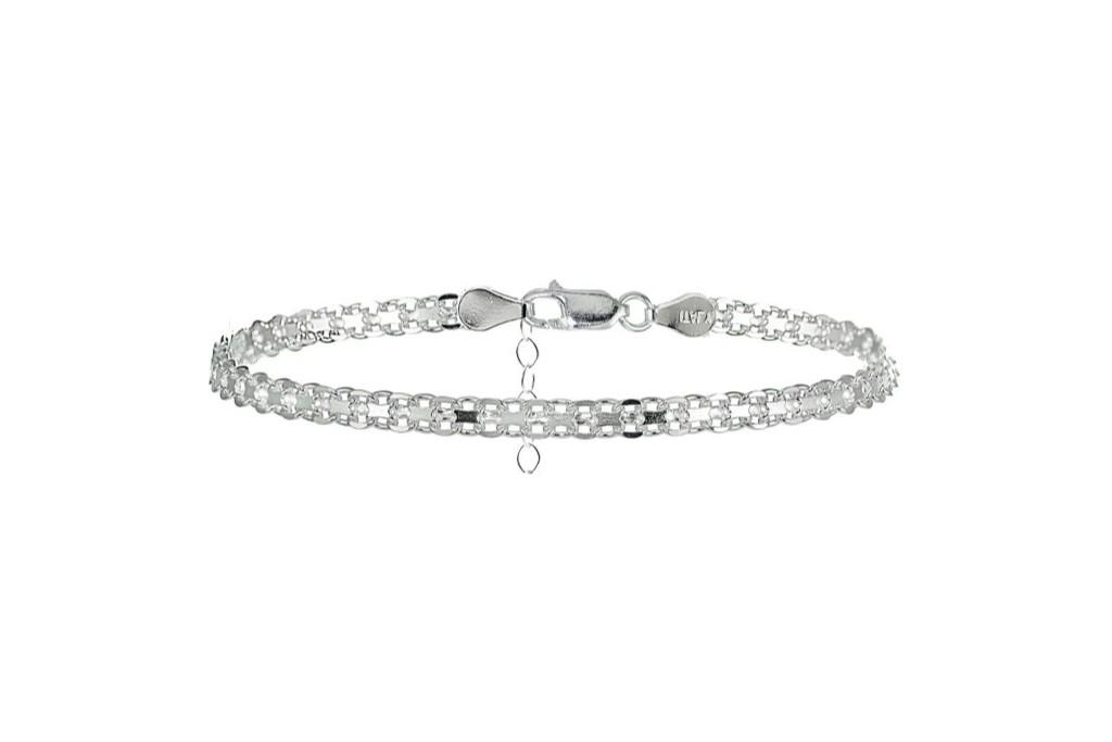 Hoops & Loops Sterling Silver Bismark Design Anklet