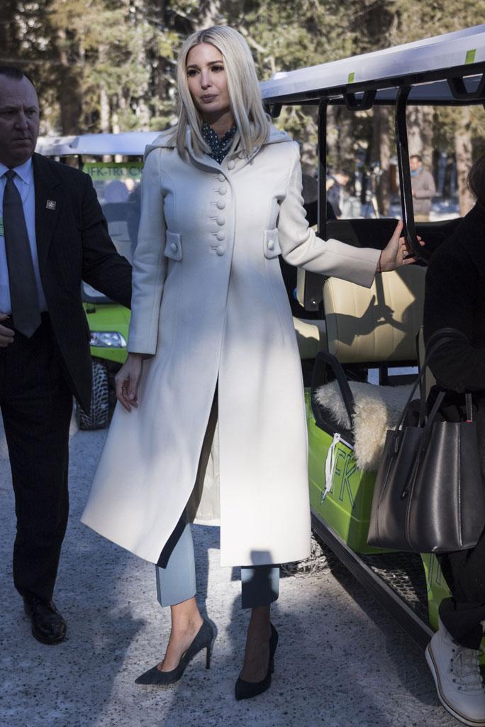 Ivanka Trump, davos, switzerland, world economic forum, celebrity style, senior white house advisor, max mara pantsuit, blazer, pants, polka-dot blouse, navy suede pumps, ivanka trump collection shoes, cream coat