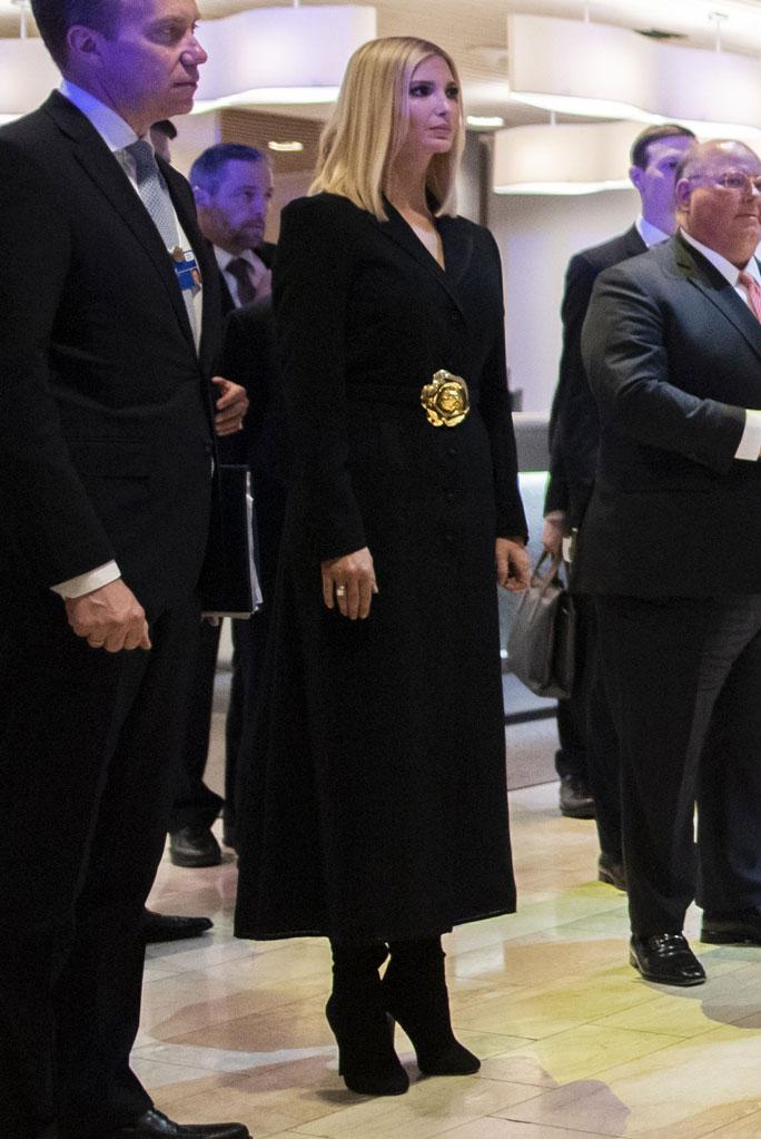 Ivanka Trump, celebrity style, davos, world economic forum, january 2020, black coat, gold rose belt, black boots