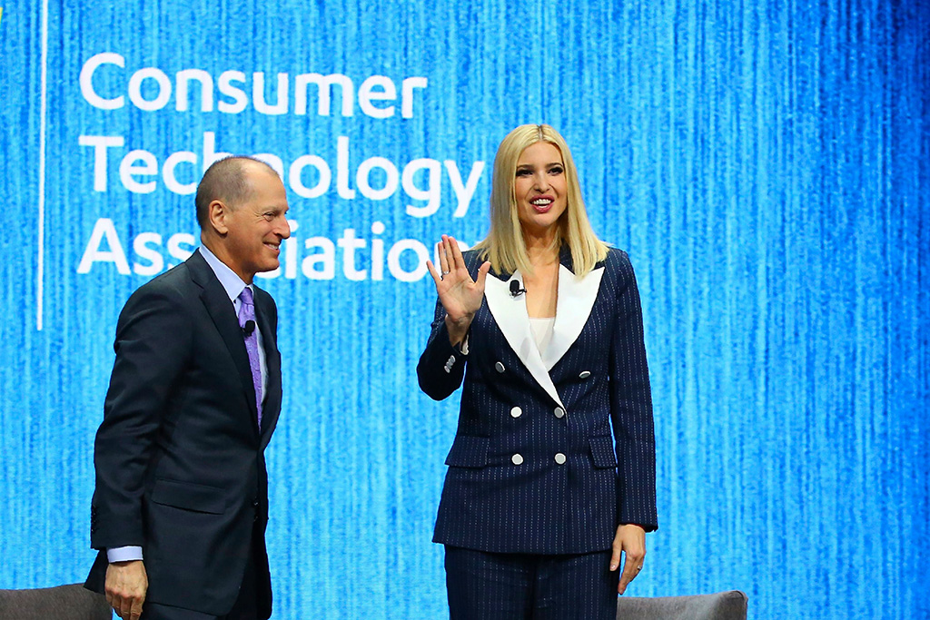 Ivanka Trump, right, the daughter and senior adviser to U.S. President Donald Trump, waves to the crowd after being interviewed by Gary Shapiro, left, CEO of the Consumer Technology Association, during the CES tech show, in Las VegasGadget Show Diversity Ivanka Trump, Las Vegas, USA - 07 Jan 2020
