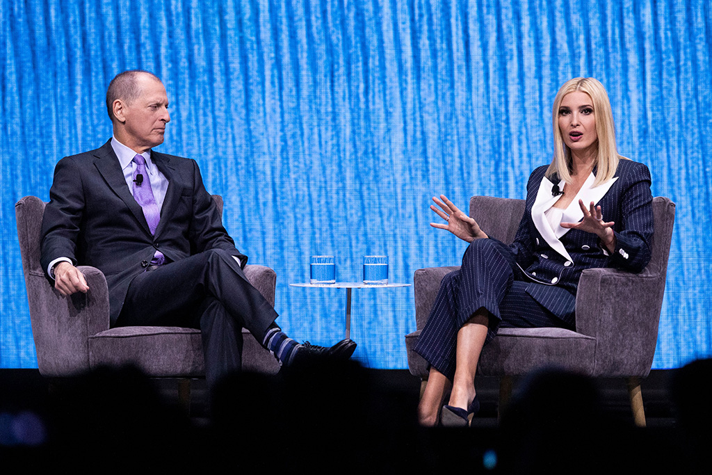 Senior Advisor to the US President, Ivanka Trump (R) delivers a speech next to CES Consumer Technology Association President and CEO Gary Shapiro during the panel 'The Path to the Future of Work' at the 2020 International Consumer Electronics Show in Las Vegas, Nevada, USA, 07 January 2020. The annual CES which takes place from 7-10 January is a place where industry manufacturers, advertisers and tech-minded consumers converge to get a taste of new innovations coming to the market each year.Consumer Electronics Show, Las Vegas, USA - 07 Jan 2020